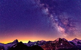 Switzerland, the Alps, beautiful night, sky, stars