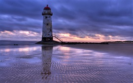 United Kingdom, Wales, lighthouse, sea, beach, evening, sunset, clouds