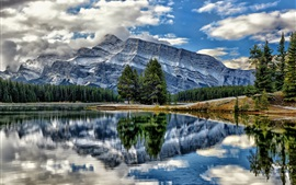 Preview wallpaper Vermillion Lakes, Banff National Park, Alberta, Canada, mountains, trees