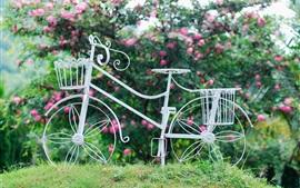 Bicicleta blanca, rueda, cesta, flores, hierba