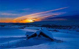 Preview wallpaper Winter, snow, mountains, morning, blue, sunrise, house