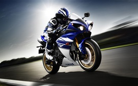 Preview wallpaper Yamaha YZF-R1 motorcycle, rider, sport bike, speed