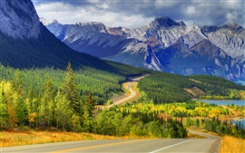 Abraham lake, Banff, Alberta, Canada, mountains, forest, trees, autumn, road