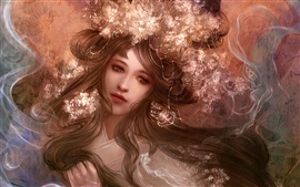 Preview wallpaper Art fantasy girl, hair, flowers, face, smoke