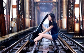 Preview wallpaper Asian girl, guitar, music, railroad, bridge