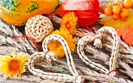 Preview wallpaper Autumn, heart, straw, vegetables, pumpkins, flowers