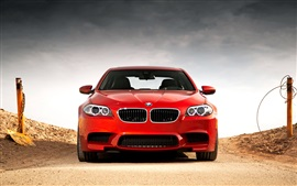 Preview wallpaper BMW M5 F10 red car front view