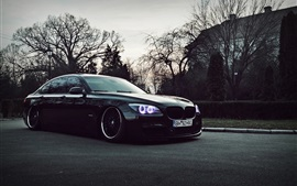 Preview wallpaper BMW black car at dusk
