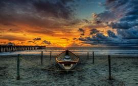 Preview wallpaper Beach, wood bridge, boat, sunset, pier, sea, clouds