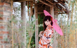 Beautiful Japanese girl, kimono, paper umbrellas
