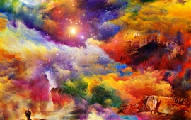 Preview wallpaper Bright colors, house, rock, art painting