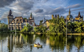 Preview wallpaper Budapest, castle, trees, nature, park, lake, boat, people