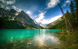 Preview wallpaper Canada nature, mountains, sky, lake, trees, Banff National Park