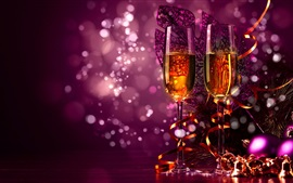 Preview wallpaper Celebrate, Christmas, champagne, decorations, purple style