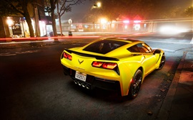 Preview wallpaper Chevrolet Corvette Stingray Coupe C7 supercar in night city