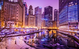 Chicago, USA, Illinois, skyscrapers, buildings, night lights, river, winter, ice