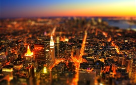 Preview wallpaper City, tilt-shift photography, lights, sky, buildings, night