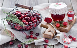 Preview wallpaper Cranberries, berries, red, jam, jar, spoon, still life