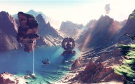 Desktopography arte da paisagem, renderização, navio, costa, verão sem fim