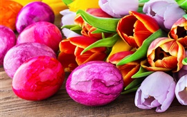 壁紙のプレビュー イースターエッグ、ハッピーイースター、チューリップの花