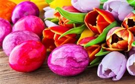 Easter eggs, Happy Easter, tulip flowers