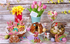 Easter eggs, flowers, tulips, cookies, bread