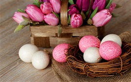 Preview wallpaper Easter, nest, eggs, pink, white, tulip flowers, basket