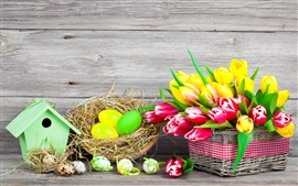 Preview wallpaper Easter, spring, flowers, eggs, colorful, red and yellow tulips