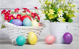 Preview wallpaper Flowers, eggs, holiday, Easter, basket
