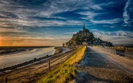 Preview wallpaper France, Mont Saint-Michel, road, dusk