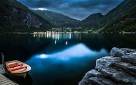 Preview wallpaper Geiranger, Norway, lake, boat, mountain, house, dusk