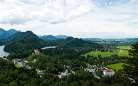 Preview wallpaper Germany, Bavaria, Fussen, mountain, forest, river, house, castle