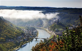Germany, city, house, river, summer, forest, mist