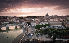 Preview wallpaper Italy city, Vatican, streets, buildings, houses, river, bridge
