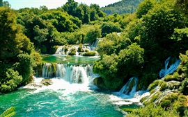 Krka National Park, Croatia, waterfalls, trees, greenery