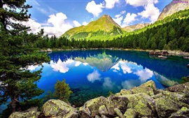 Lake, forest, mountains, rocks, trees, sky, clouds, nature scenery