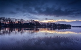 Maryland, USA, evening, river, trees, sky, clouds, reflection
