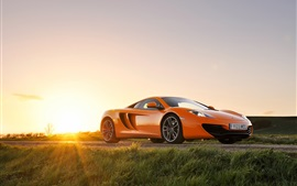 McLaren MP4-12C orange supercar, sun, glare