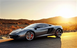 Preview wallpaper Mclaren MP4-12C gray sports car at sunset