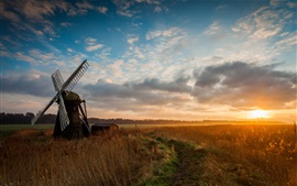 Preview wallpaper Nature, fields, windmill, morning, sunrise