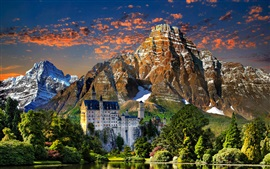 Preview wallpaper Neuschwanstein, sky, clouds, sunset, mountains, trees, lake, castle