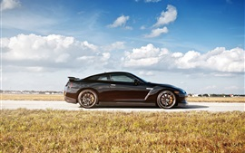 Preview wallpaper Nissan GT-R R35 black car side view