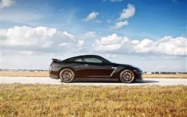 Nissan GT-R R35 вид сбоку черный автомобиль