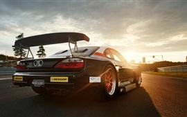Nissan Silvia supercarro ao pôr do sol estrada