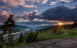 Preview wallpaper Norway, Drammen, mountains, trees, clouds, sunset
