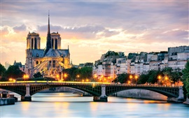 Preview wallpaper Paris, France, Notre Dame Cathedral, bridge, lights, Seine river, houses