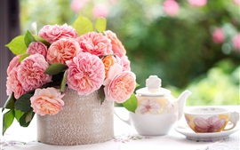 Preview wallpaper Pink rose flowers, table, cup, tea, blurring