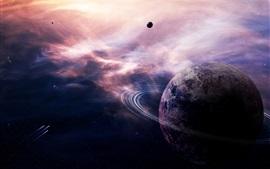Планета, кольца туманности, звезды, кометы