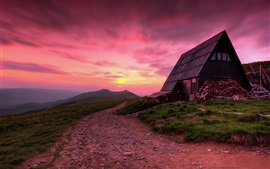Poland, mountains, wood house, road, sunset, twilight