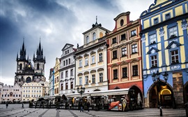 Preview wallpaper Prague, Czech, the Old Town Square, city, buildings, street